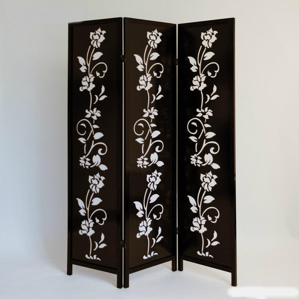 Flower Paravent Room Divider Screen - Brown