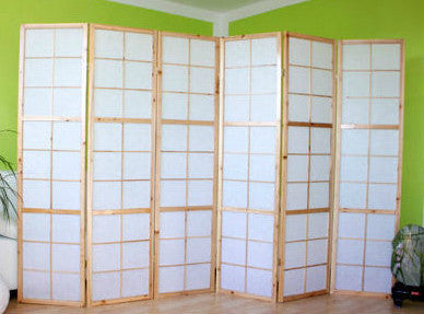 Window Shoji Room Divider Screen - Natural - 6 Panel