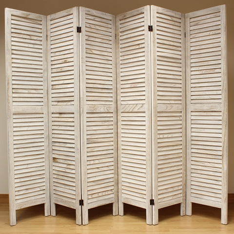 Wooden Slat Room Divider Screen - 6 Panel - Cream