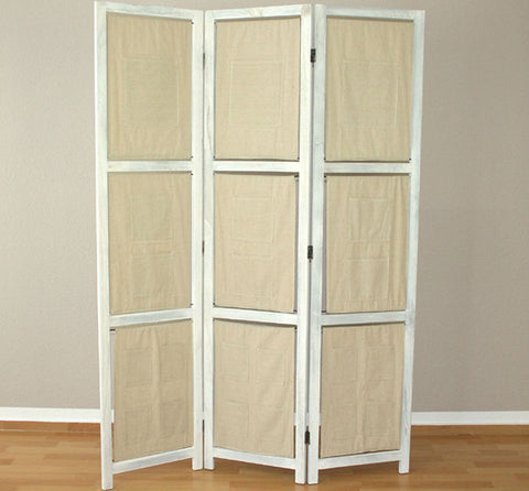 Double Sided Fabric Room Divider Screen - 3 Panel - Grey wash