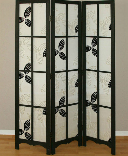 Shoji Paravent Black Room Divider Screen -3 Panel