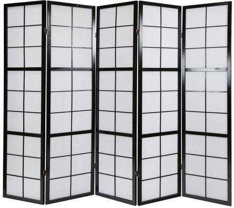 Window Shoji Room Divider Screen - Black - 5 Panel