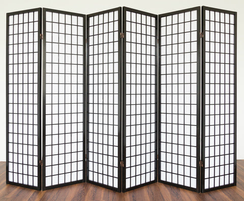 Window Shoji Room Divider - Black - 6 Panel