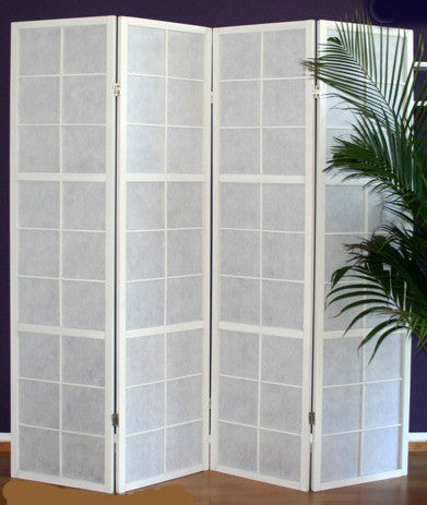 Window Shoji Room Divider Screen - 4 Panel - White