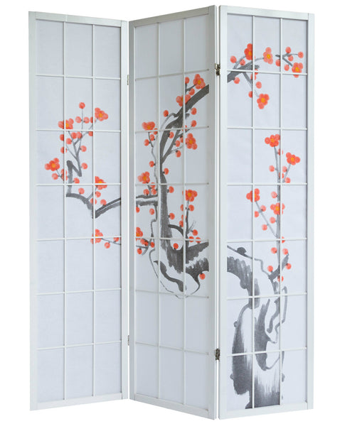 Cherry Tree Blossom Shoji Screen - 3 Panel - White