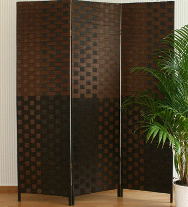 Paravent Wicker Room Divider Screen- Dark Brown - 3 Panel