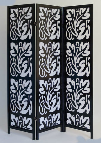 Black and White Flower Paravent - 3 Panel Room Divider