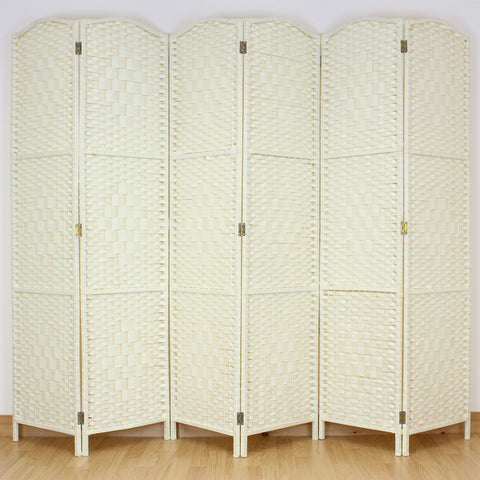 Wicker Room Divider - Cream - 6 Panel