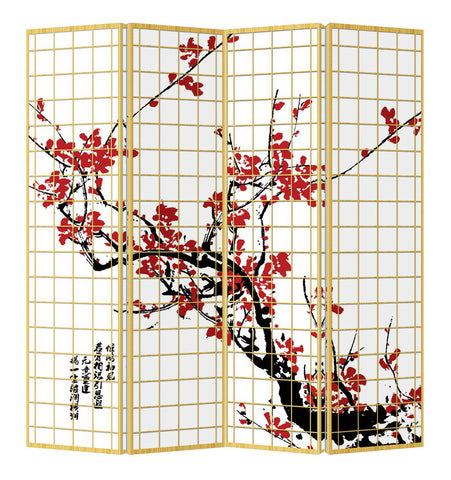 Cherry Tree Shoji Screen - 4 Panel - Natural