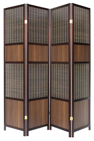 Walnut Panel Room Divider Screen - 4 Panel