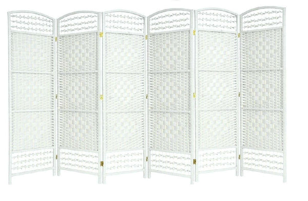 White Hand Made Wicker Room Divider Screen - 6 Panel