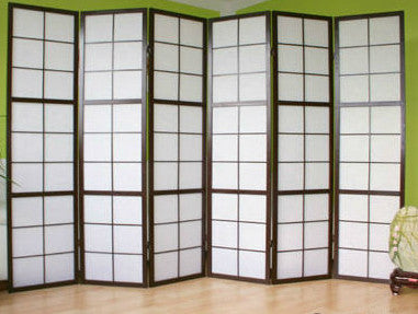 Window Shoji Room Divider Screen - Black - 6 Panel