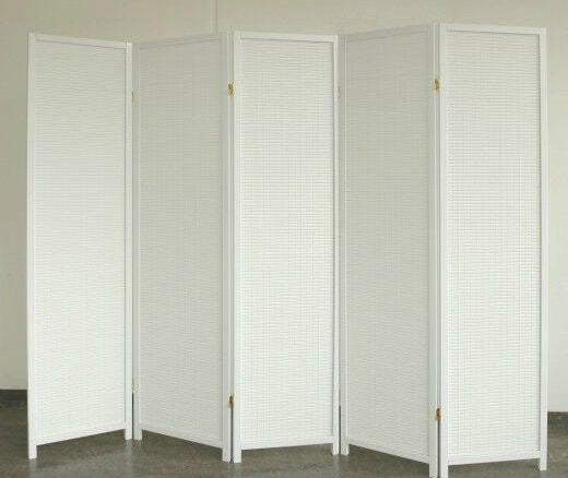 White Wood Room Divider - 5 Panel