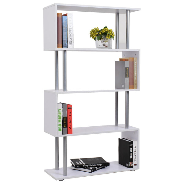 S Shape Storage Bookcase Room Divider - White