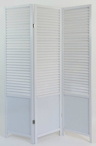 Paravent Wooden Slat Room Divider Screen- White - 3 Panel
