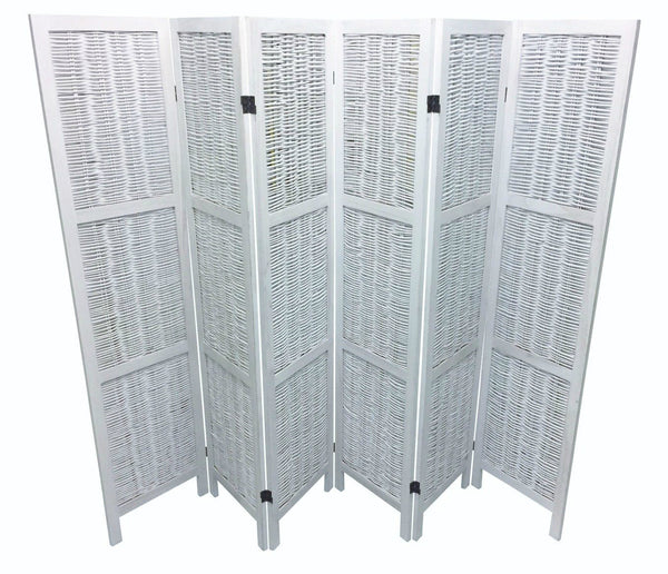 Shabby Chic Wicker Room Divider Screen - 6 Panel - White