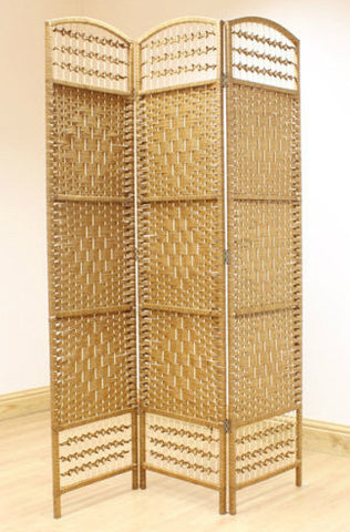 Wicker Room Divider Screen - Beige- 3 Panel