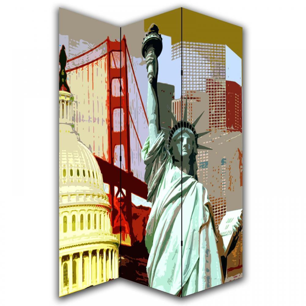 Scenery View Statue Of Liberty Room Divider Screen
