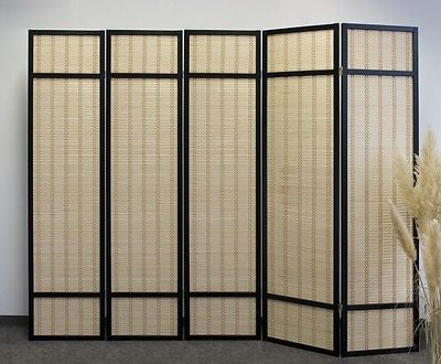 Black Bamboo Shoji Screen - 5 Panel