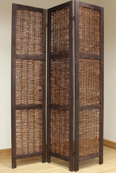 Shabby Chic Wicker Room Divider Screen 3 Panel Brown Room Dividers UK