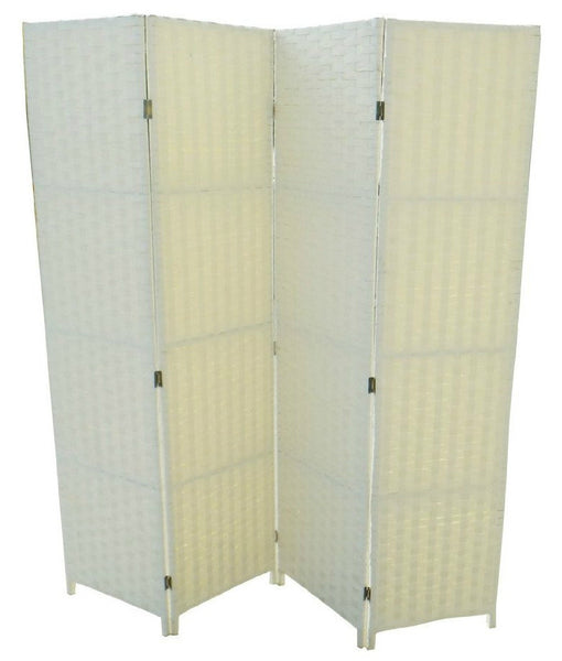 Cream Wicker Room Divider Screen - 4 Panel