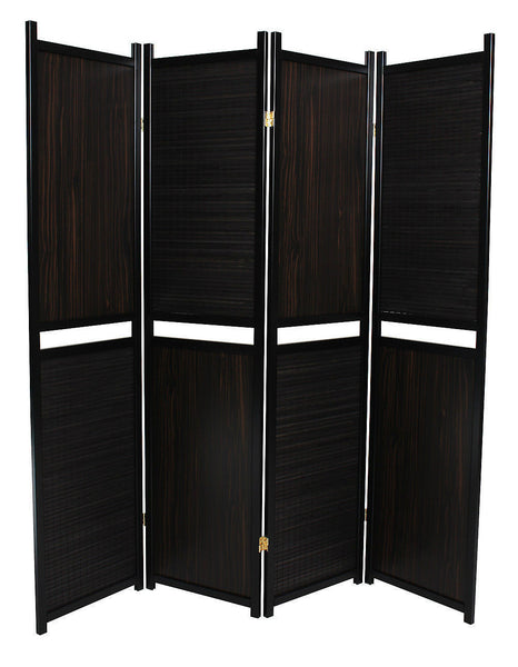 Black Alternating Room Divider Screen - 4 Panel