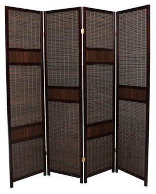 Mahogany Strip Room Divider Screen - 4 Panel