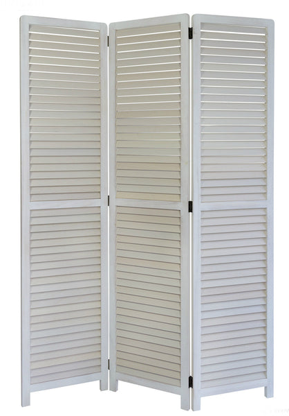 Paravent Wooden Slat Room Divider Screen - 3 Panel - WhiteWash