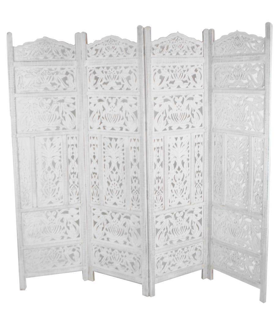 Hand Carved Wooden Leaves Room Divider Screen - White