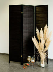 Black Wood Room Divider - 3 Panel