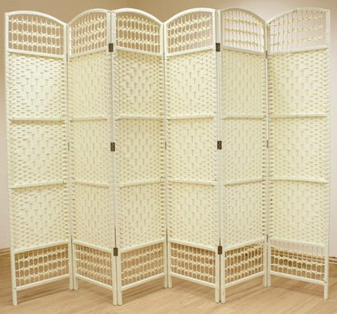 Wicker Room Divider Screen - 6 Panel - Cream Colour