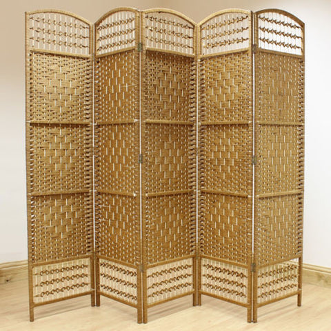 Natural Hand Made Wicker Room Divider Screen - 5 Panel