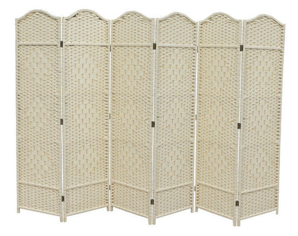 Classical Room Divider Screen - 6 Panel - Cream