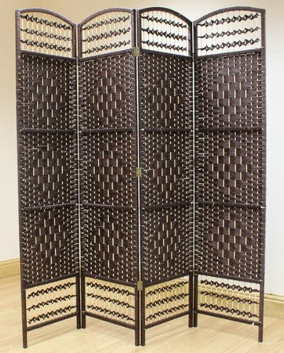 Brown Hand Made Wicker Room Divider Screen - 4 Panel