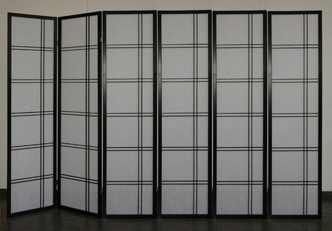 Shiro Room Divider Screen - Black - 6 Panel