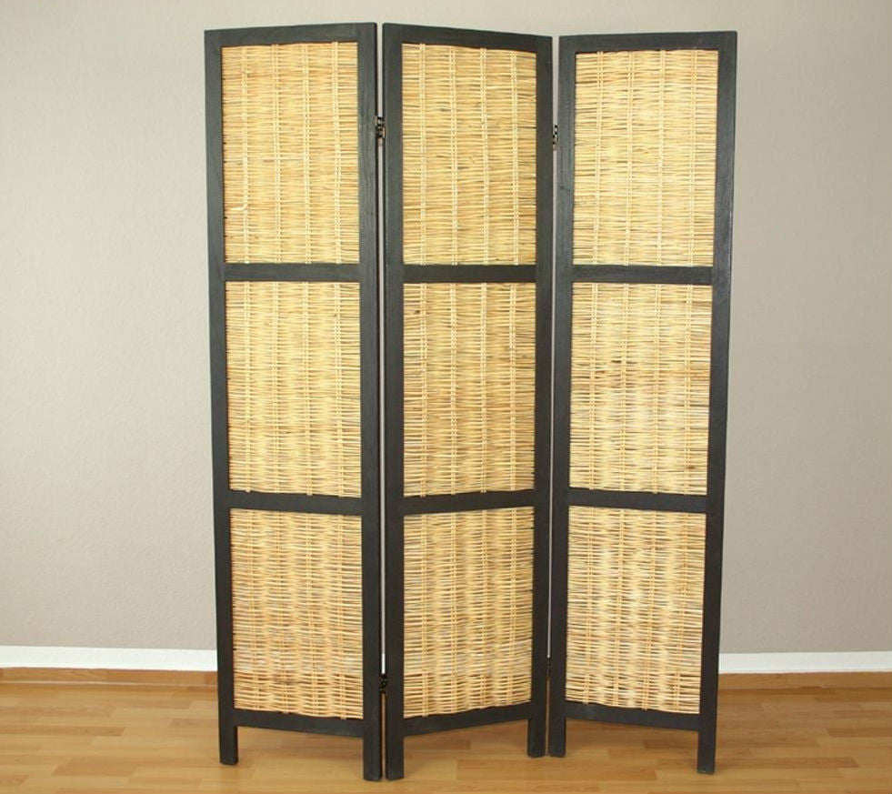 Wicker room divider screen 3 panel natural room for Photo screen room dividers
