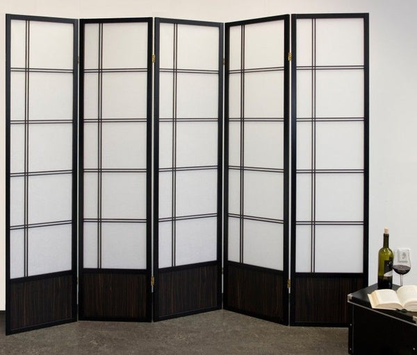 Akio Room Divider Screen - Black - 5 Panel