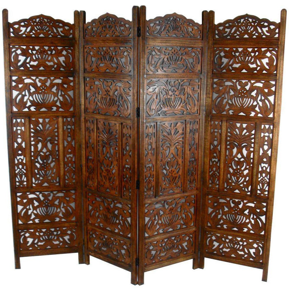 Hand Carved Wooden Leaves Room Divider Screen - Light Brown