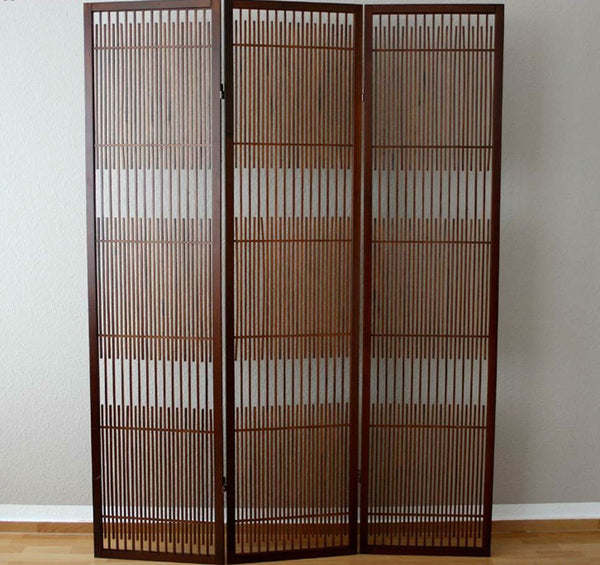 Brown Paravent Room Divider Screen - 3 Panel
