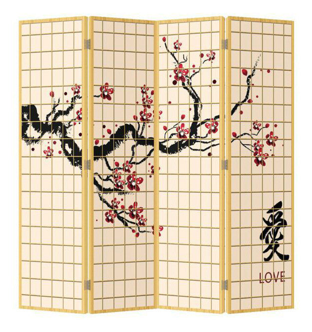 Cherry Blossom Room Divider - 4 Panel - Natural