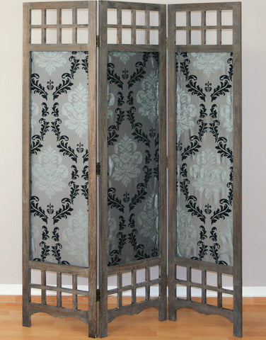 Wooden and Fabric Room Divider Screen - 3 Panel