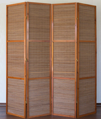 Bamboo Room Divider   2 Meter Tall   4 Panel