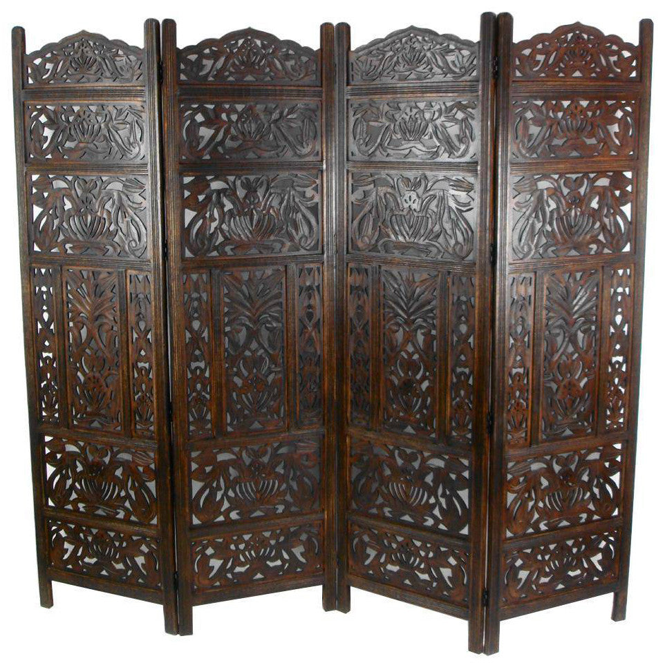 Hand Carved Wooden Leaves Room Divider Screen - Dark Brown