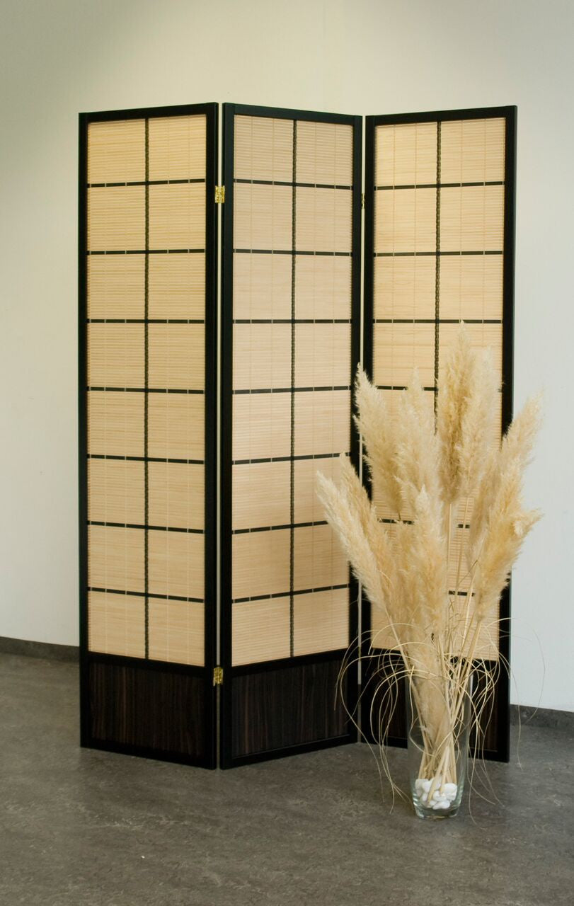 Hoshi Bamboo Room Divider Screen - Black - 3 Panel