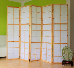 Window Shoji Room Divider Screen - Natural - 5 Panel