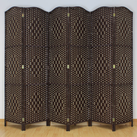 Brown Weave Wicker Room Divider - 6 Panel
