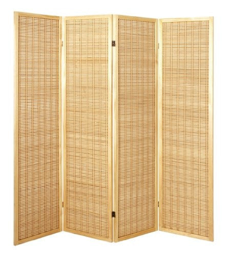 Natural Bamboo 4 Panel Room Divider
