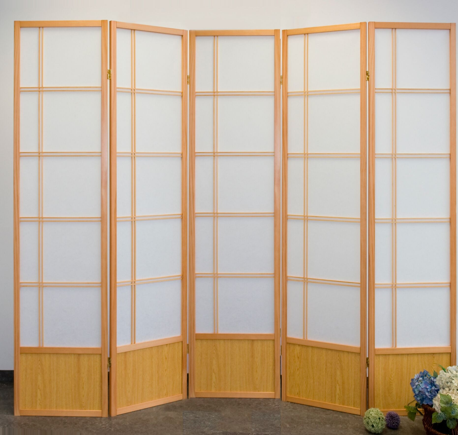 Akio Room Divider Screen - Natural - 5 Panel