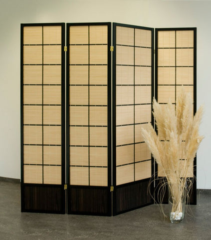 Hoshi Bamboo Room Divider Screen - Black - 4 Panel