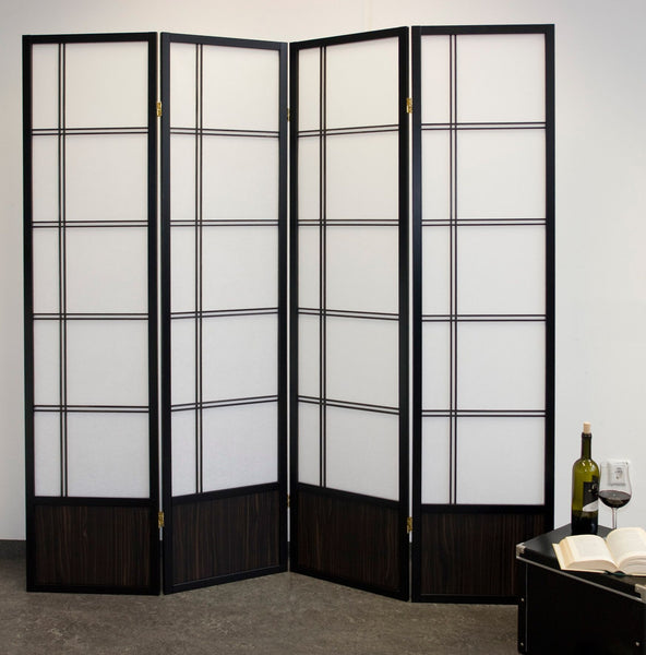 Akio Room Divider Screen - Black - 4 Panel